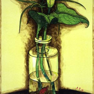 Калла и рыбки. Вспоминая Матисса. 1998. Бумага, смешанная техника