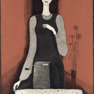 Девушка с кассовым аппаратом. 1985. Офорт, акватинта