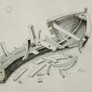 Умирающая лодка. 2002. Бум., карандаш, акварель